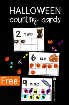 Halloween counting cards using erasers from Target! (can use play dough too!)