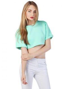 Green Visco-Elastic Crop Top with Roll Sleeve - Choies.com