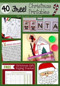 Free Christmas Printables for Preschoolers - coloring pages, play dough mats, gift tags, thank you notes, letters to Santa, sight word books and learning activities.  40 Free and Easy holiday Printables