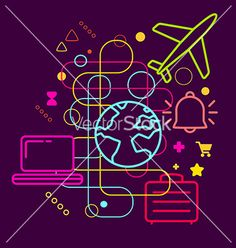 Symbols of travel choosing on abstract colorful vector by wowomnom on VectorStock®