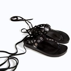 ZARA - NEW THIS WEEK - LEATHER BIO SANDAL WITH STUDS