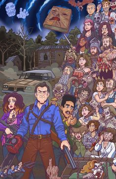 Just finished this tribute poster for the Evil Dead franchise, featuring characters from all the films, and Ash vs Evil Dead! Ash Versus Evil Dead, Ash Evil Dead, Evil Dead Trilogy, Evil Dead Series, Arte Horror, Horror Art, Culture Pop, Geek Culture, Bruce Campbell Evil Dead