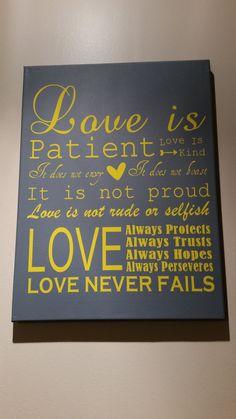Love is Patient Wedding Canvas Art by HappyFlightDesigns on Etsy