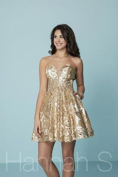 8192a29ee0 Hannah S 27159 Gold White Sweetheart Strapless Sequined Short Dress