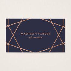 Modern Faux Rose Gold Geometric on Midnight Blue Business Card  #BusinessCard #BizCard #Modern #ModernCards #CustomBusinessCards #ZazzleCards #BusinessCard