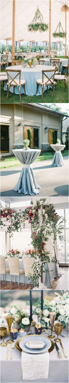Dusty blue wedding reception decor idea #weddings #weddingideas #weddingdecoration