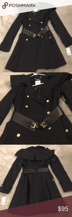 Bebe raincoat Bebe raincoat with removable cape over the shoulders with flattering flare bottom. Decorated with gold buttons and gold accented leather belt. Brand new item. Size M Bebe Jackets & Coats Trench Coats