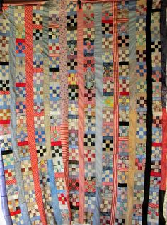 "STRIP 9-PATCH Quilt Top - 88"" x 72"""