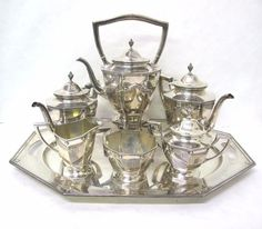 Tea Party Tea Set Pot Sugar Cream Tray Coffee Set 5 Piece Mid ...