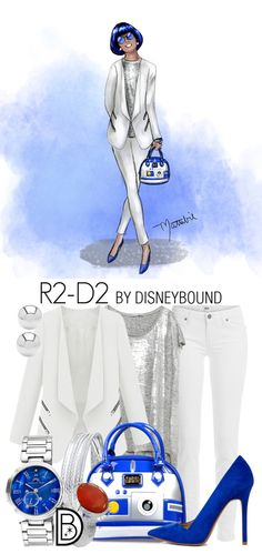 Star Wars fashion inspired by R2-D2, and created in collaboration by DisneyBound's Leslie Kay and artist Matthew Simpson.