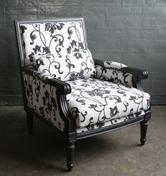 Black Lacquer Club Chair with Black and White Floral Upholstery