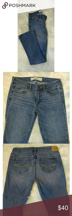 Abercrombie Light Wash Bootcut Jeans NWOT Abercrombie and Fitch brand size 2S shorter skinny bootcut jeans. NWOT worn once to try on but fit too small. Never been put in the wash and NOT distressed.  Waist 26 inches, length 31 inches. Front rise is   8.5 inches. 80% Cotton 11% Polyester 9% Viscose Abercrombie & Fitch Jeans Boot Cut