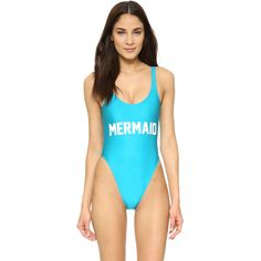 Private Party Mermaid One Piece ($100) ❤ liked on Polyvore featuring swimwear, one-piece swimsuits, madagascar blue, swimming costume, colorblock bathing suit, bathing suit swimwear, 1 piece bathing suits and color block swim suit