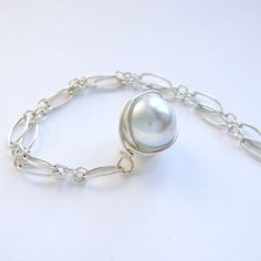 Silver Grey Vintage Glass Pearl Necklace