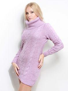 Платье-свитер сиреневого цвета
