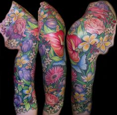 tropical flower sleeve tattoos