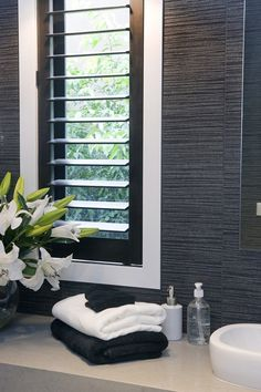 do you think of this Ensuites tile idea I got from Beaumont Tiles? Check out more ideas here . White Shutters, Interior Window Shutters, Interior Windows, Service A Domicile, Master Bathroom Shower, Bathroom Tiling, Bathroom Ideas, Bathrooms, Louvre Windows