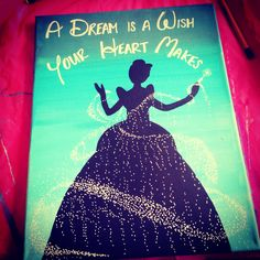 A shoe instead of Cinderella -- on front Disney Canvas Paintings, Disney Canvas Art, Canvas Crafts, Diy Canvas, Canvas Ideas, Disney Diy, Disney Crafts, Diy Painting, Painting & Drawing