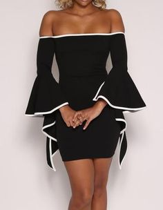 Black And White Off The Shoulder Ruffle Sleeves Short Pencil Dress