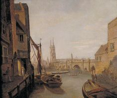 London Bridge from Pepper Alley Stairs, William Marlow, 1788, Guildhall Art Gallery
