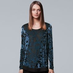 Petite Simply Vera Vera Wang Velvet Burnout Top, Women's, Size: XS Petite, Blue