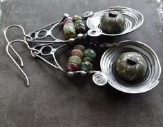Olive green small lampwork metalwork by DiPiazzaMetalworks on Etsy