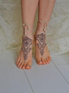 Crochet  french lace Tan Barefoot Sandals Nude by LuxHandShop, $25.00