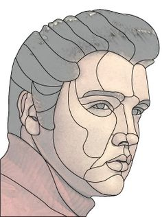 stained glass Elvis Presley design pattern