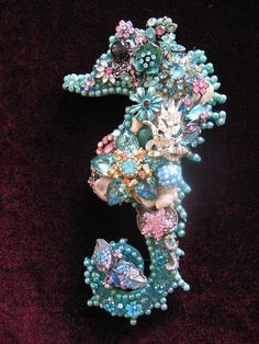 Vintage Jewelry Seahorse Collage Sculpture by ArtCreationsByCJ, $75.00
