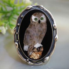 Mosaic Ring Owl Statement Ring Sterling Silver Jewelry