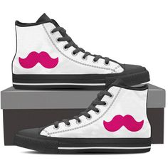 Pink Mustache Gamer Print Hi Top Sneakers Markiplier Inspired! ($60) ❤ liked on Polyvore featuring shoes, sneakers, lightweight sneakers, pink canvas shoes, high-top sneakers, canvas shoes and canvas lace up shoes