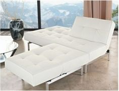 White Sofa Bed, White is used in many occasions to symbolize calmness and purity, like it is used in doctors' coats and a gorgeous bride's dress. As white simply go with all colors easily, it is White Sofa Bed, White Sofas, Modern Bedroom, Bedroom Decor, Bedroom Ideas, Sofa Furniture, Sun Lounger, Modern Decor, Interior Decorating
