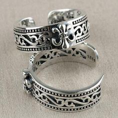 Men's Sterling Silver France Fleur De Lis Wrap Ring - Jewelry1000.com