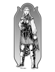 Eric Lofgren Presents: Elf Noblewoman - Misfit Studios | Eric Lofgren | Publisher Resources | DriveThruRPG.com White Wolf, Black And White, Privateer Press, An Elf, Stock Art, Art File, Misfits, All Art