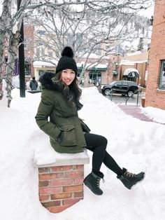 winter parka coat + wedge waterproof snow boots