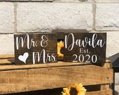 Sweetheart Table Decor Mr and Mrs sign Valentine Day Gift   Etsy Wedding Chair Signs, Wooden Wedding Signs, Wedding Welcome Signs, Wedding Chairs, Green Bridal Showers, Sweetheart Table Decor, Free Standing Letters, Table Signs, Wedding In The Woods