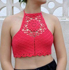 Tops Tejidos A Crochet, Crochet Bra, Crochet Halter Tops, Crochet Collar, Crochet Crop Top, Crochet Blouse, Crochet Clothes, Crochet Gifts, Hand Crochet