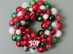 Christmas RED White GREEN JOY Ornament Wreath. $58.00, via Etsy.