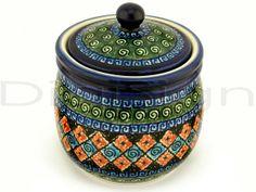 Polish Pottery Stoneware JAR W/LID
