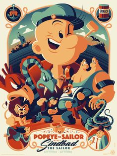 'Popeye the Sailor Meets Sinbad the Sailor' Poster by Tom Whalen (Onsale Info) Cartoon Cartoon, Cartoon Kunst, Cartoon Posters, Disney Posters, Vintage Cartoon, Popeye Cartoon, Vintage Disney, Tom Whalen, Art Disney