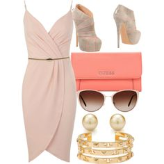 Nude w/ Peach by carolineas on Polyvore featuring polyvore, fashion, style, Miss Selfridge, Casadei, GUESS, Tory Burch and Oliver Peoples