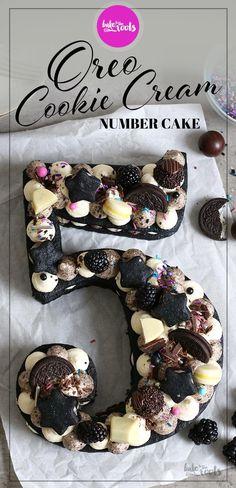 Oreo Cookie Cream Number Cake – Bake to the roots Number Birthday Cakes, Number Cakes, Oreo Cake, Oreo Cookies, Oreos, Mini Cakes, Cupcake Cakes, Cupcakes, Blackberry Cake