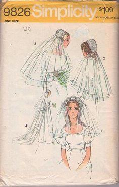 MOMSPatterns Vintage Sewing Patterns - Simplicity 9826 Vintage 70's Sewing Pattern ROMANTIC Mod Bride Renaissance Style Juliet Cap & Veil Set, Wedding Headpieces One Size