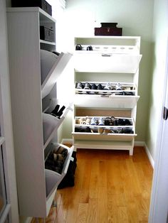 Love all these shoe storage ideas. http://involvingcolor.com/blog/shoe-closet-ikea-style/