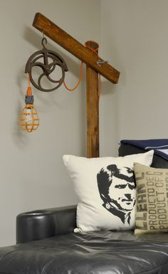 Standing Wooden Lamp with Pulley | Hearts & Sharts   http://heartsandsharts.com/standing-wooden-lamp-pulley/