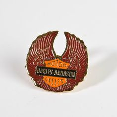 Brass Harley Davidson Biker's pin ends in a couple hours! Free Shipping!