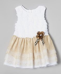 Love this White & Gold Ruffle Dress - Toddler & Girls on #zulily! #zulilyfinds