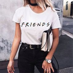 Large size T-Shirt Tops New Harajuku letter printing Summer Top Fashio – geekbuyig, Large size T-Shirt Tops New Harajuku letter printing Summer Top Fashion Casual Tees For Women Friends TV Show Shirt Gift T shirt Large size T-Shirt To. Tees For Women, Shirts For Girls, Clothes For Women, Casual T Shirts, Casual Outfits, Summer Outfits, Casual Clothes, Casual Wear, Friends Tv Show Shirt