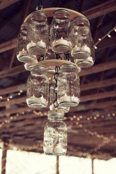Handmade mason jar chandelier