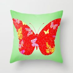Buy Red Butterfly Throw Pillow by artgaragefinland. Worldwide shipping available at Society6.com. Just one of millions of high quality products available. Butterfly Pillow, Red Butterfly, Down Pillows, Throw Pillows, Green Art, Red Green, Pillow Inserts, Projects To Try, 16 October